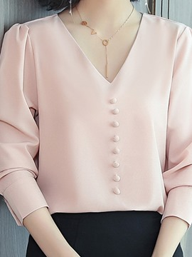 Ericdress Plain V-Neck Three-Quarter Sleeve Standard Blouse