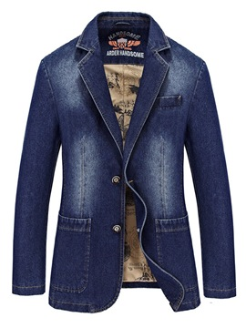 Ericdress Plain Notched Lapel Worn Mens Casual Denim Jacket