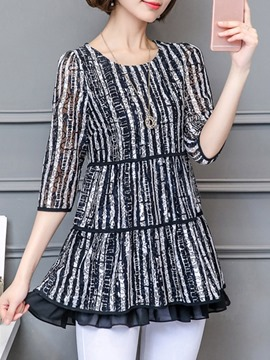 Ericdress Regular Round Neck Stripe Three-Quarter Sleeve Mid-Length Blouse