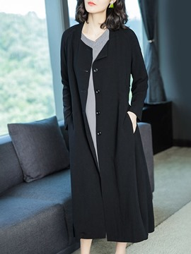 Ericdress Single-Breasted Long Loose Fall Trench Coat
