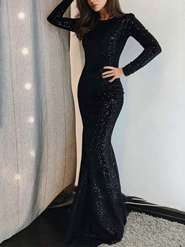 Ericdress Long Sleeves Black Mermaid Evening Dress 2019