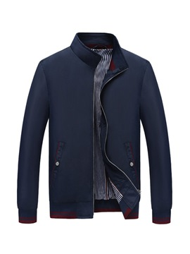 Ericdress Plain Stand Collar Zipper Mens Jacket