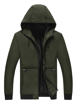 Ericdress Plain Hooded Lace-Up Mens Casual Jacket