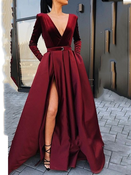 Ericdress Sexy A Line Long Sleeve Deep V Neck Prom Dresses