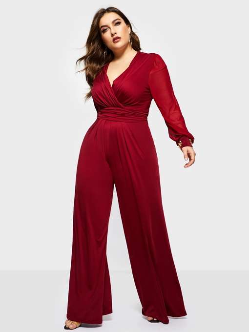 Ericdress Plus Size Elegant Loose High Waist Jumpsuit