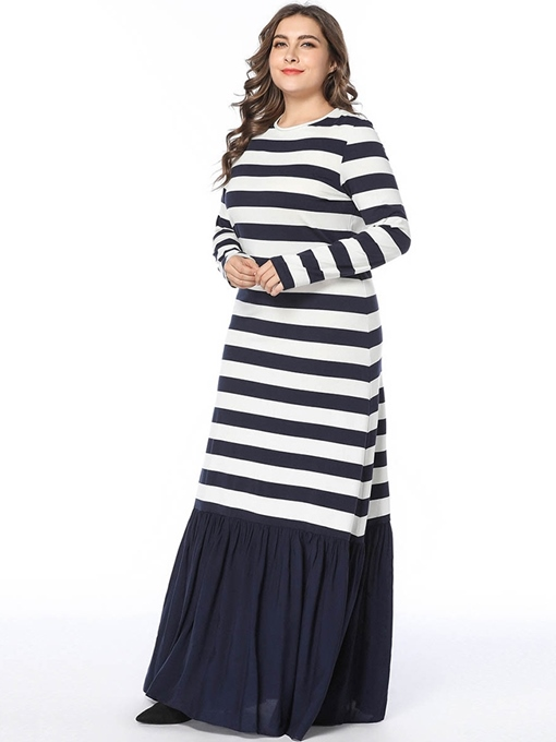 Ericdress Plus Size Floor-Length Patchwork Regular A-Line Dress