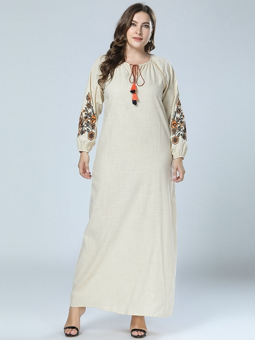 Ericdress Embroidery Floor-Length Plus Size Floral Lantern Sleeve Dress