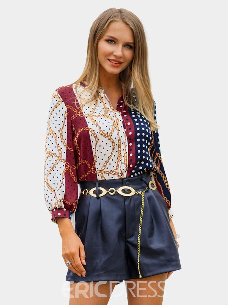 Ericdress Print Lantern Sleeve Polka Dots Three-Quarter Sleeve Standard Blouse