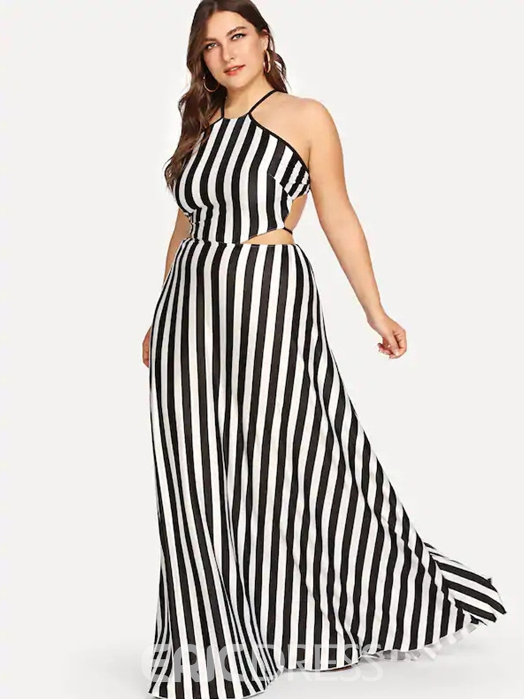 Ericdress Plus Size Backless Sleeveless Floor-Length Pullover Sexy Dress