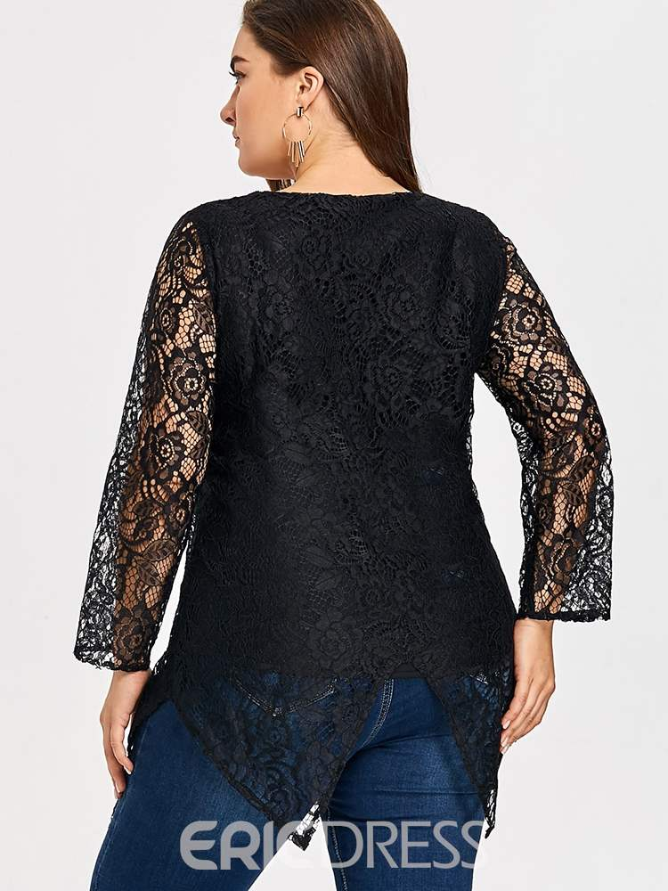 Ericdress Lace Round Neck Regular Mid-Length Long Sleeve Blouse