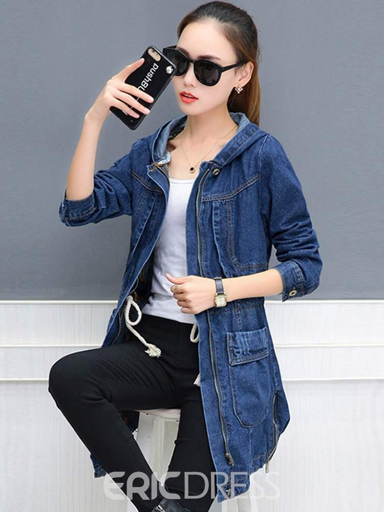 Ericdress Mid-Length Zipper Hooded Long Sleeve Office Lady Trench Coat