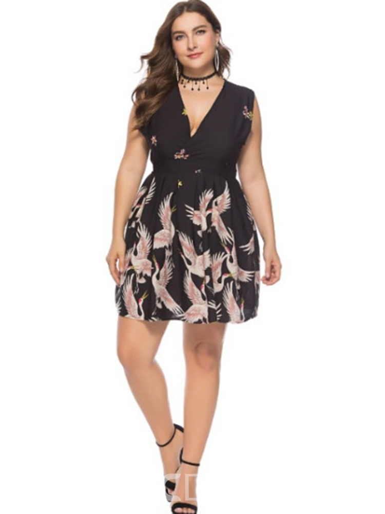 Ericdress Plus Size V-Neck Sleeveless Patchwork Animal Standard-Waist Dress