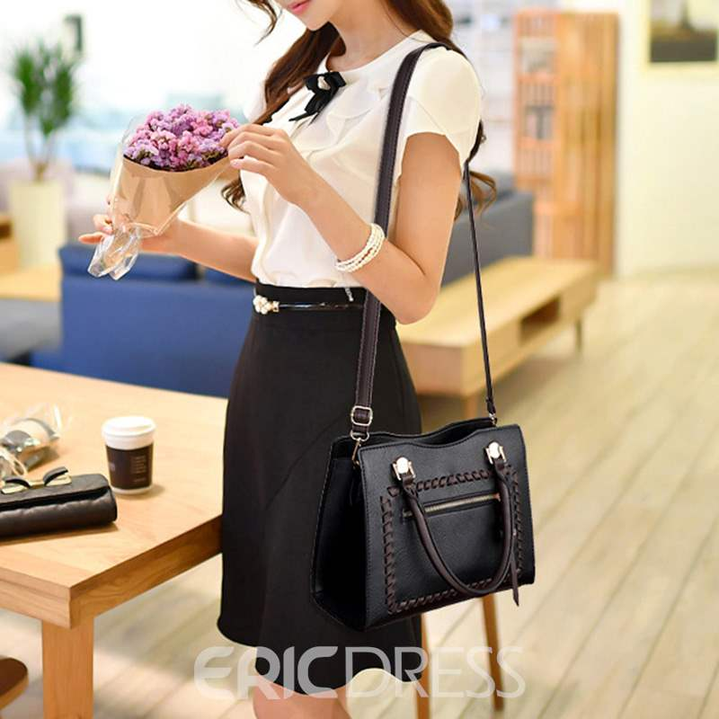 Ericdress Knitted PU Plain Square Handbag