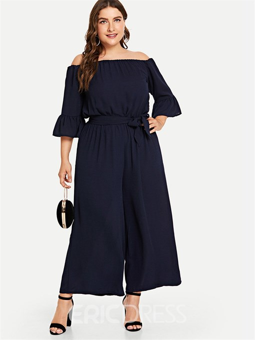 Ericdress Plus Size Lace-Up Ankle Length Sexy Loose Wide Legs Jumpsuit
