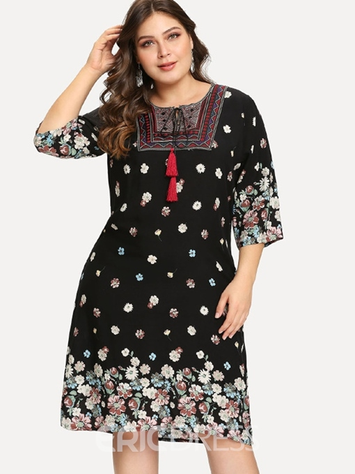 Ericdress Round Neck Print Three-Quarter Sleeve Plus Size Going Out Floral Dress