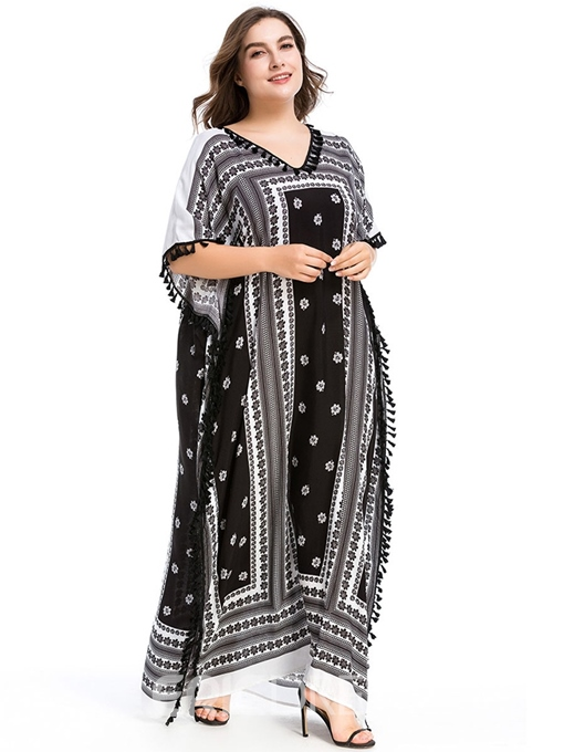 Ericdress Plus Size V-Neck Half Sleeve Floor-Length Straight Travel Look Dress