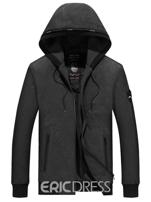 Ericdress Plain Hooded Zipper Mens Casual Jacket