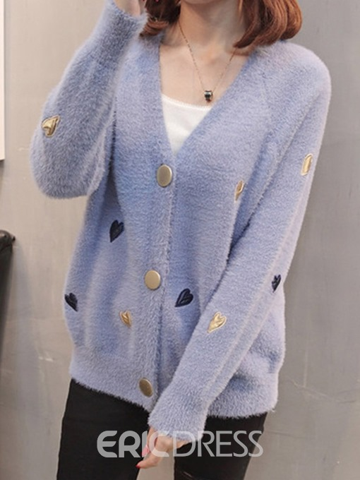 Ericdress Single-Breasted Regular Embroidery Standard V-Neck Sweater