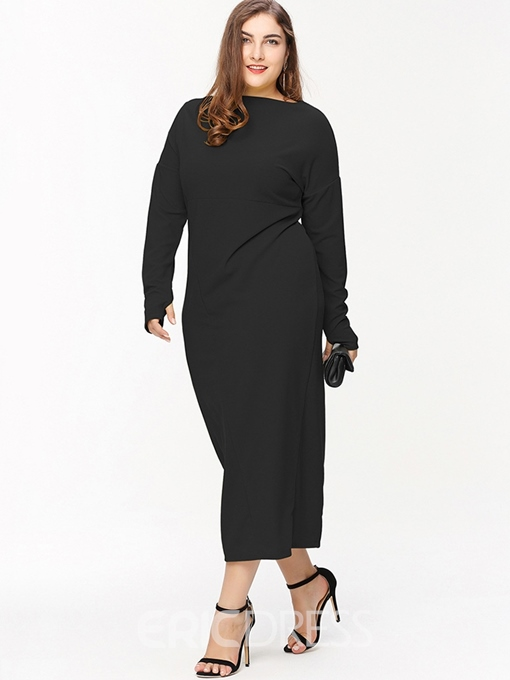 Ericdress Plus Size Ankle-Length Long Sleeve Plain Pencil Dress