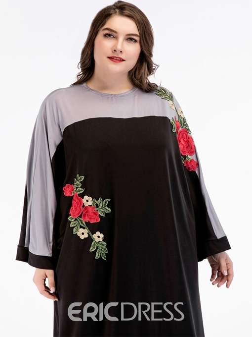 Ericdress Round Neck Patchwork Embroidery Plus Size A-Line Dress