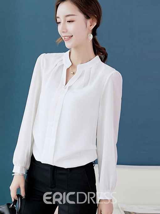 Ericdress V-Neck Office Lady Single Blouse