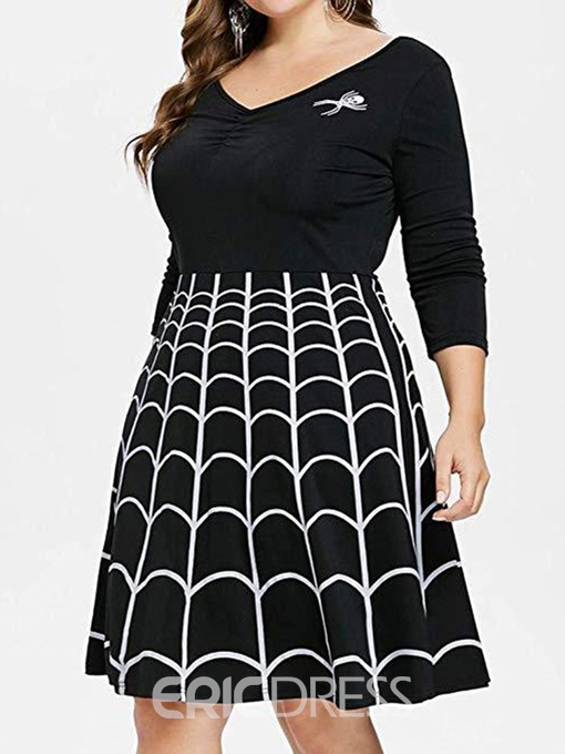 Ericdress Knee-Length Three-Quarter Sleeve V-Neck Plus Size Going Out Dress