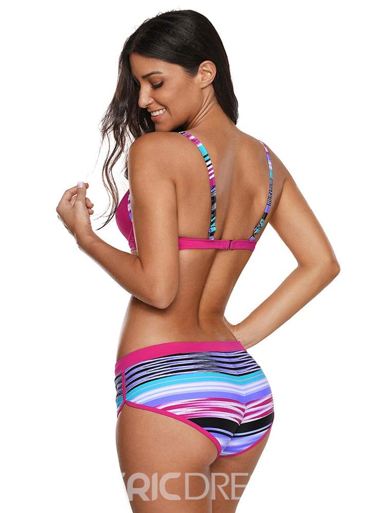 Ericdress Color Block Striped Lace-Up Women's Tankini Set