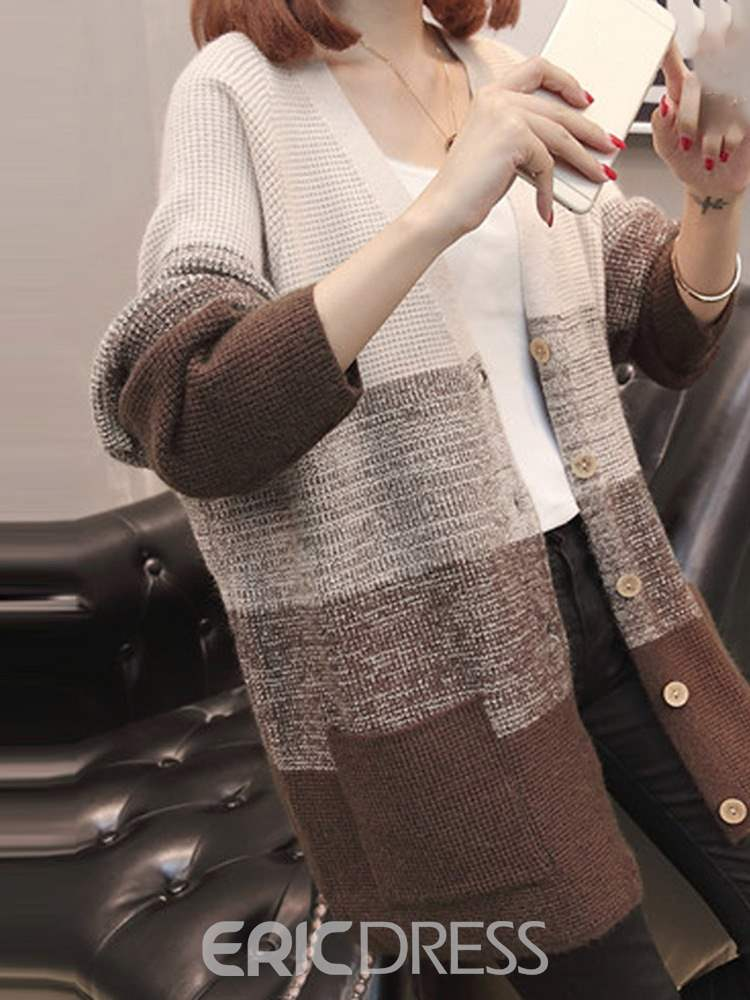 Ericdress Single-Breasted Batwing Sleeve V-Neck Long Sleeve Sweater