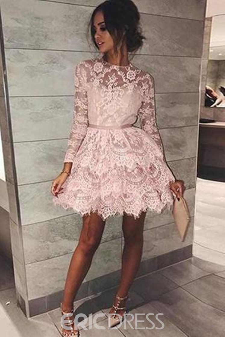 Ericdress Long Sleeves Short Lace Cocktail Dress