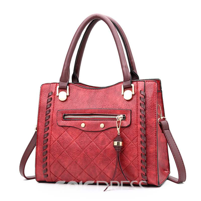 Ericdress Plaid PU Quilted Lining Square Handbag