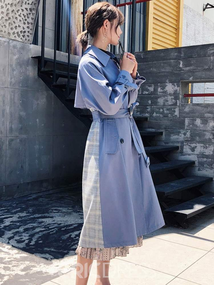 Ericdress Long Double-Breasted Belt Office Lady Loose Trench Coat