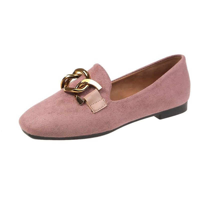 Ericdress Faux Suede Slip-On Block Heel Square Toe Women's Flats