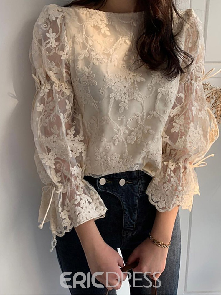 Ericdress Lace Flare Sleeve Round Neck Nine Points Sleeve Standard Blouse