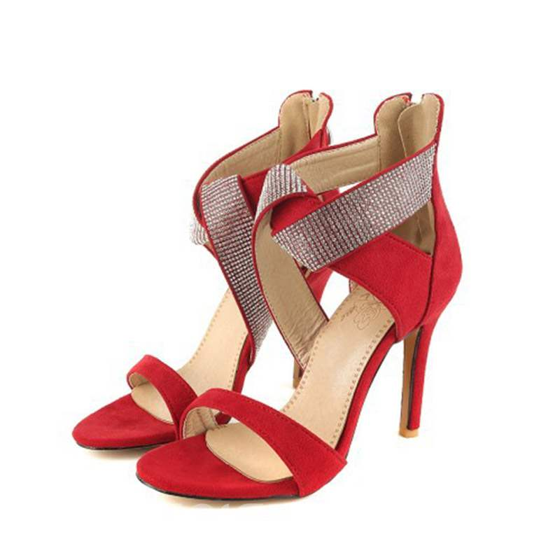 Ericdress Faux Suede Rhinestone Stiletto Heel Zipper Women's Sandals
