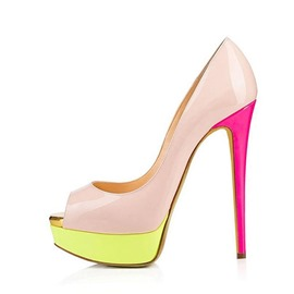 Ericdress Platform Stiletto Heel Peep Toe Color Block Women's Pumps