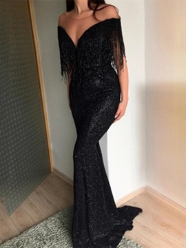 Ericdress Floor-Length Mermaid Sequins Half Sleeves Evening Dress