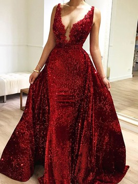 Ericdress Sheath Long Sleeves V-Neck Prom Dress 2019
