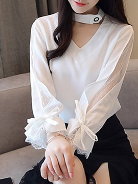 Ericdress Bowknot V-Neck Standard Long Sleeve Blouse
