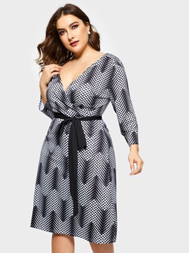 Ericdress Plus Size V-Neck Print Three-Quarter Sleeve Pencil High Waist Dress
