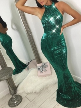 Ericdress Sequins Halter Sleeveless Halter Mermaid Evening Dress