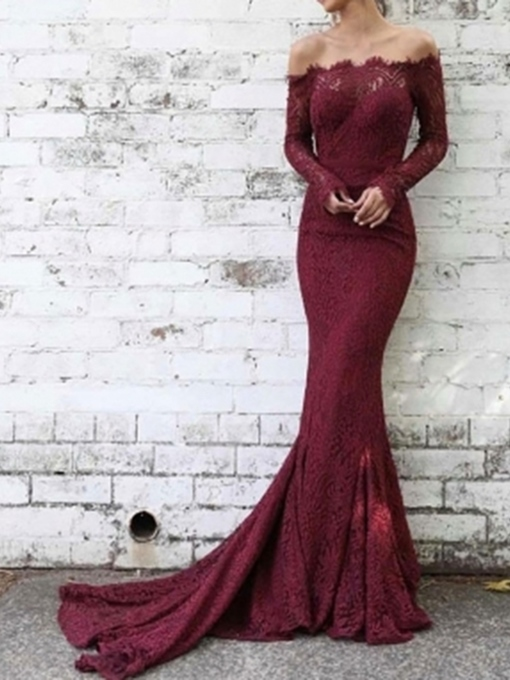 Ericdress Off-The-Shoulder Long Sleeves Lace Evening Dress 2019