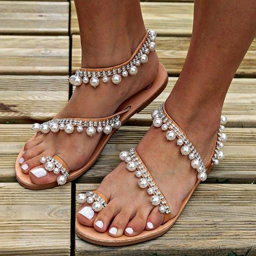 Ericdress Beads Thong Slip-On Women's Flat Sandals