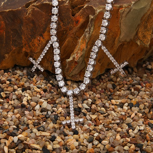 Ericdress Diamante Cross Necklace