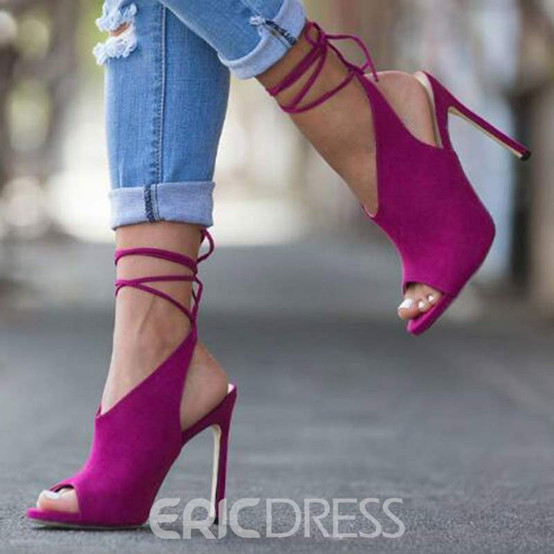 Ericdress Faux Suede Strappy Peep Toe Women's Sandals
