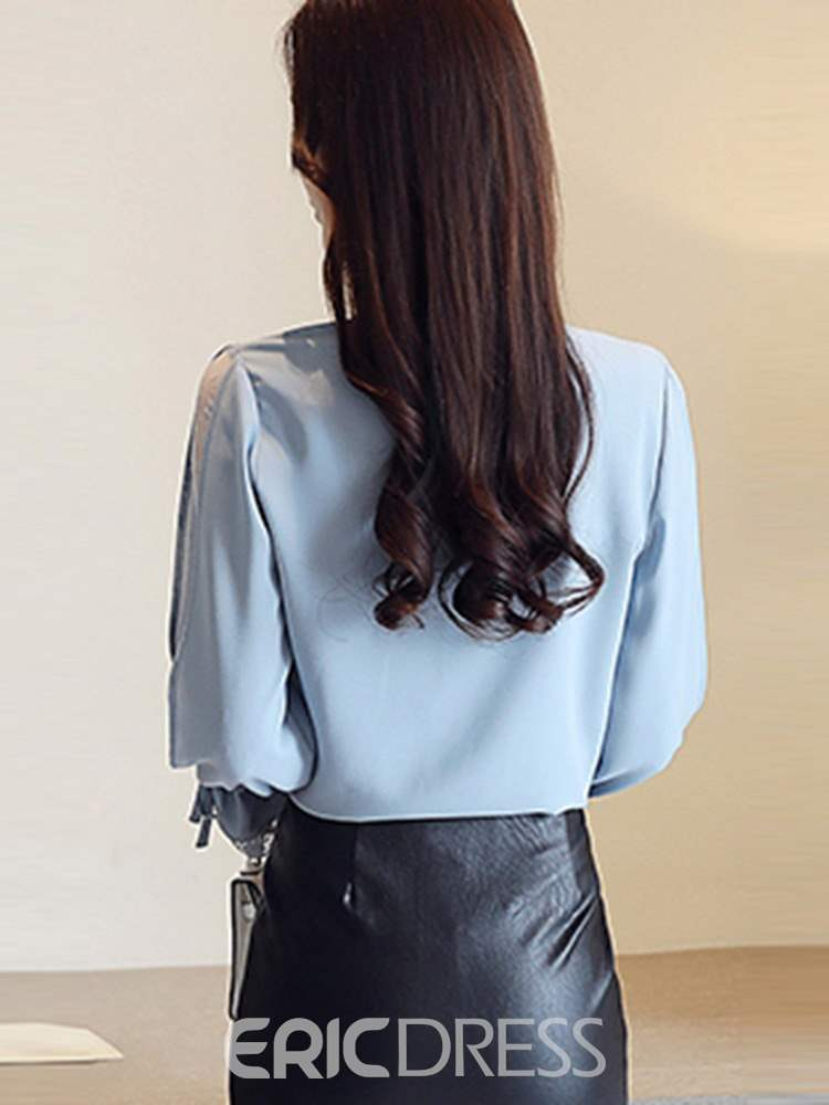 Ericdress Bowknot V-Neck Standard Sweet Blouse