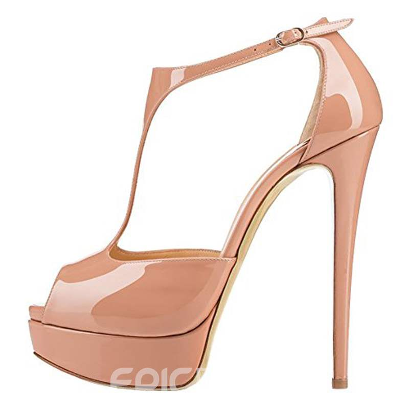 Ericdress T-Shaped Buckle Stiletto Heel Platform Women's Sandals