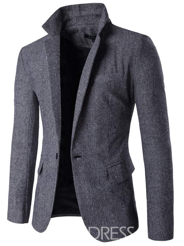 Ericdress Notched Lapel Plain One Button Mens Casual Blazer