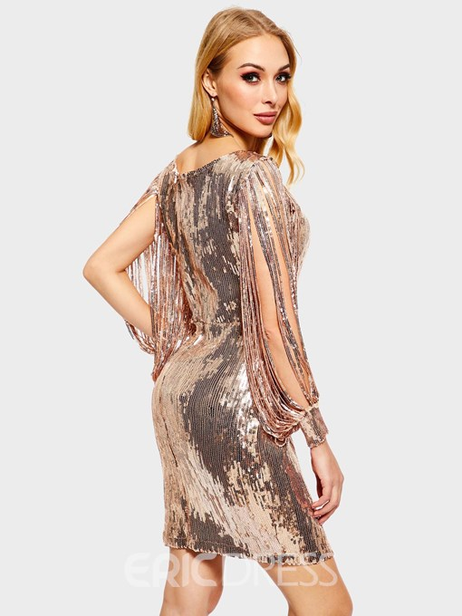 Ericdress Sequins Long Sleeve V-Neck Above Knee Party Dress