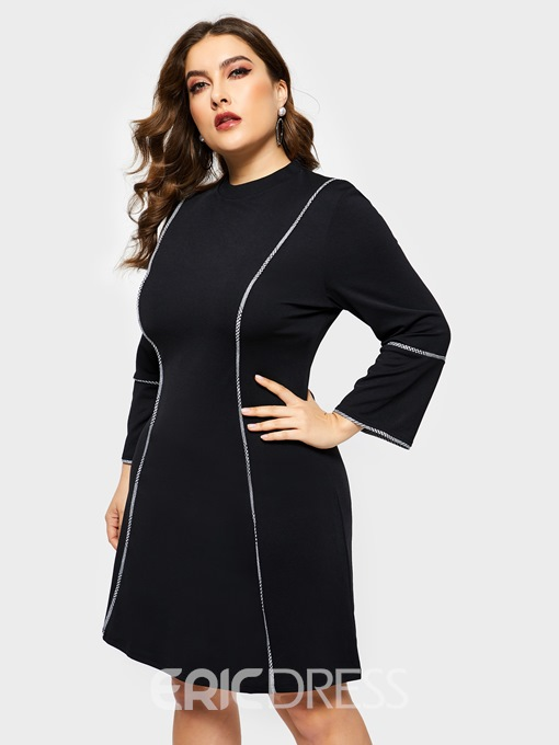 Ericdress Round Neck Above Knee Three-Quarter Sleeve Date Night Plus Size Pullover Dress