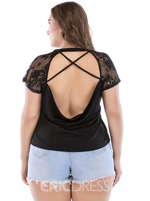 Ericdress Patchwork Lace Backless Plus Size Summer T-Shirt